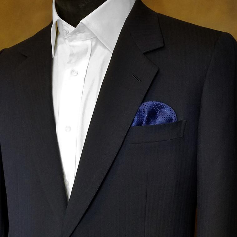 Pre-Folded Dotted Pocket Square Insert - Dark Blue
