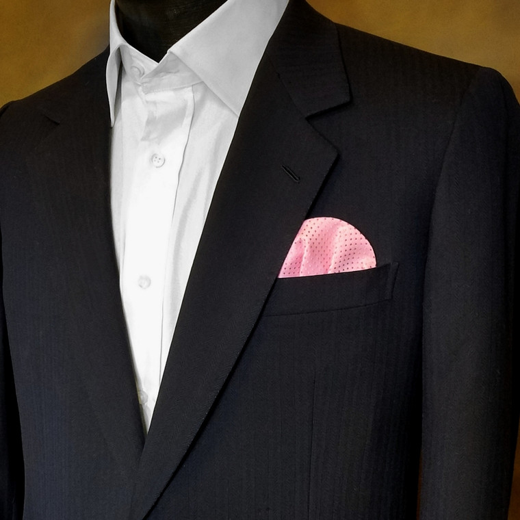 Pre-Folded Dotted Pocket Square Insert - Pink