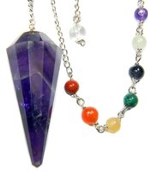Starlinks Amethyst 12-Facet Chakra Pendulum for Channeling Intuition with Satin Pouch and Instruction Pamphlet