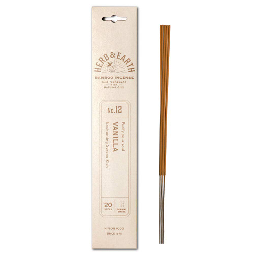 Herb and Earth Japanese Bamboo Incense, Vanilla, 20 Sticks