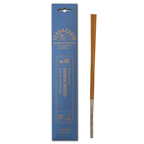 Herb and Earth Japanese Bamboo Incense, Sandalwood, 20 Sticks