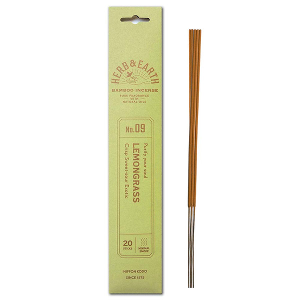 Herb and Earth Japanese Bamboo Incense, Lemongrass, 20 Sticks