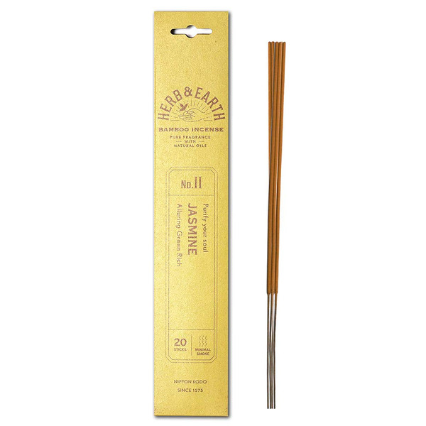 Herb and Earth Japanese Bamboo Incense, Jasmine, 20 Sticks