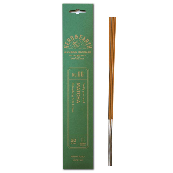 Herb and Earth Japanese Bamboo Incense, Matcha, 20 Sticks