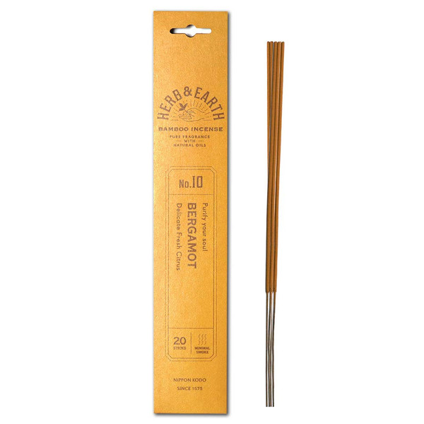 Herb and Earth Japanese Bamboo Incense, Bergamot, 20 Sticks