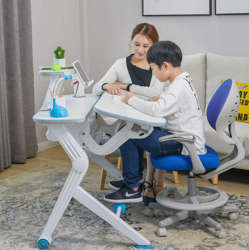 Children Ergonomic Gas Spring Lift Sit Stand Desk, Adjustable Height Table, Available in Blue and Pink Colour