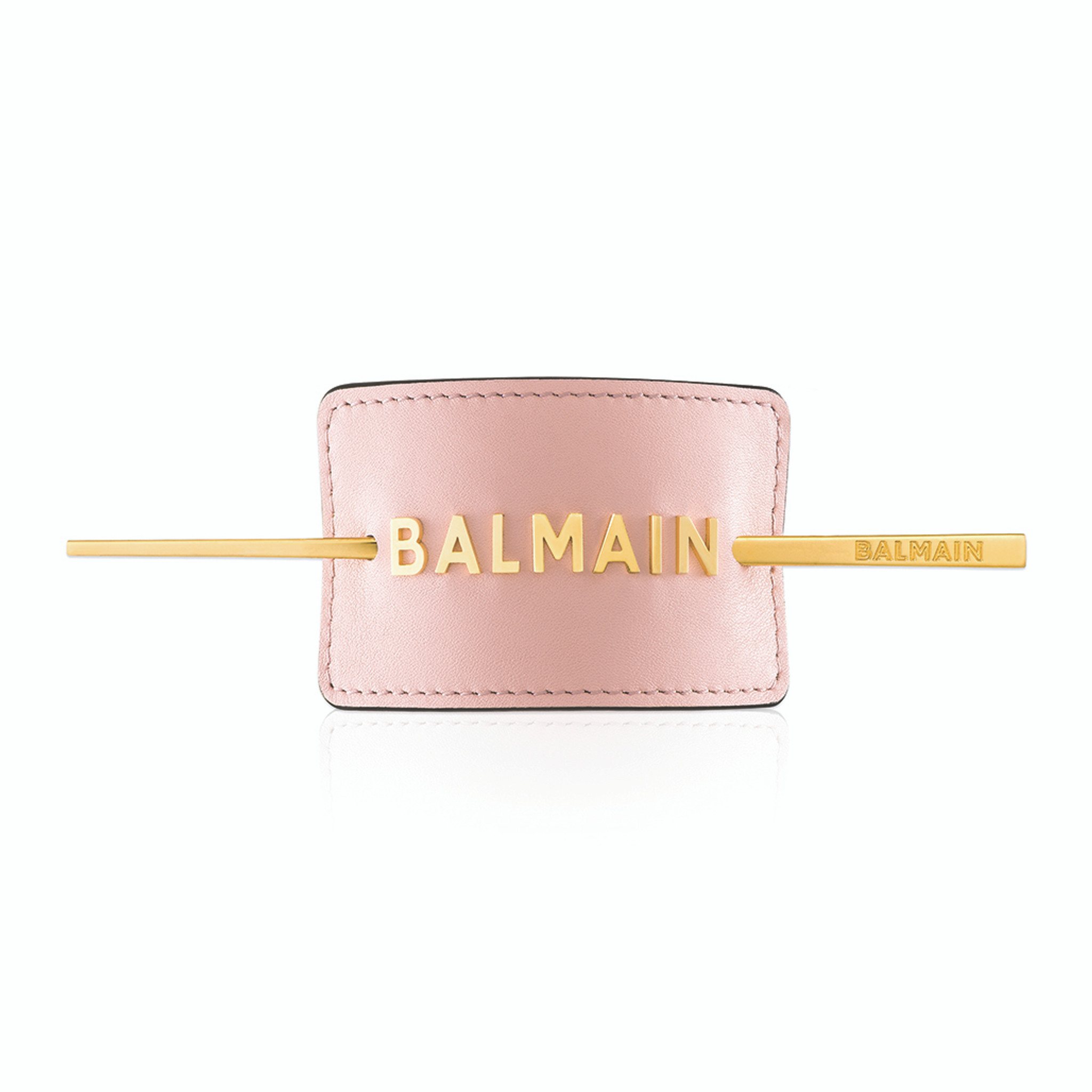 PASTEL PINK LUXURY HAIR BARRETTE WITH GOLDEN LOGO (Limited Edition SS20)