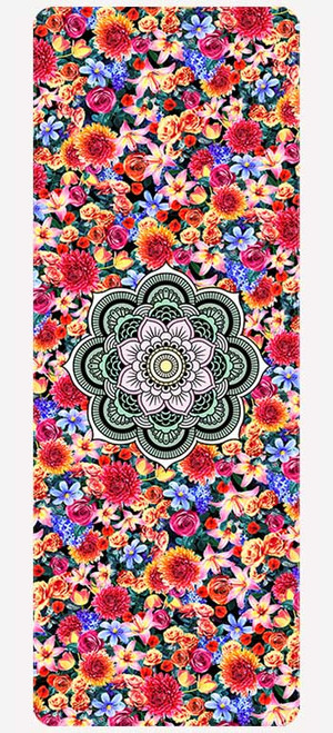 Laughing Earth microfibre yoga mat design - full view
