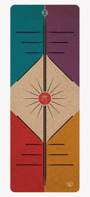 Alignment Lines cork yoga mat design - full view
