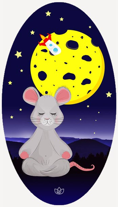 Moon Mouse kids oval yoga mat design - full view