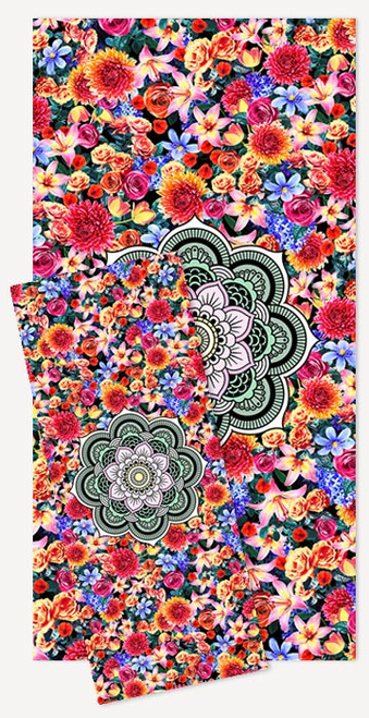 Cotton-backed microfibre workout towels with the bright floral Laughing Earth design printed on one side — product view