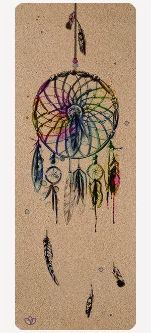 Dreamcatcher cork yoga mat design - full view