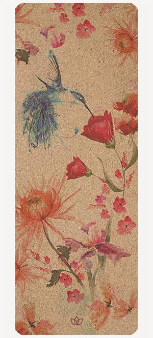 Amongst Wildflowers cork yoga mat design - full view