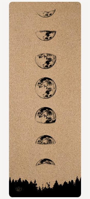 Moon Phase cork yoga mat printed design - full view