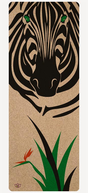 Zebra Paradise non-slip cork yoga mat with printed colour design - full product image