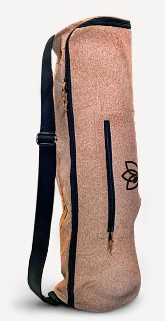Cork yoga mat bag with large accessory pockets, full length zip, lined and padded interior, heavy duty cotton carry strap — product view