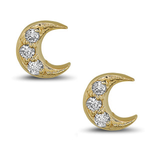 Crescent Diamond Stud Earrings