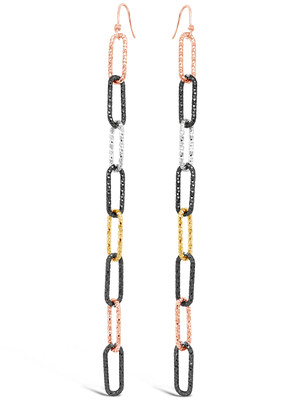 """Multicolored 4"""" Chain Earrings with French Hook"""
