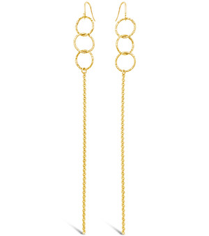 "3 Ring Chain 4"" Earrings with French Hook"