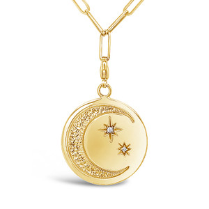 Moon and Stars Pendant with Clasp, 14K