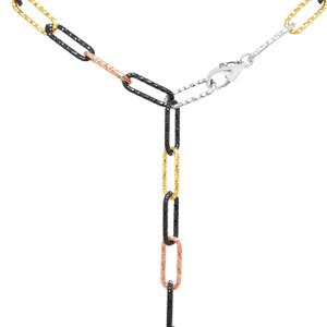 "Multicolored Chain Y Necklace, 24"""