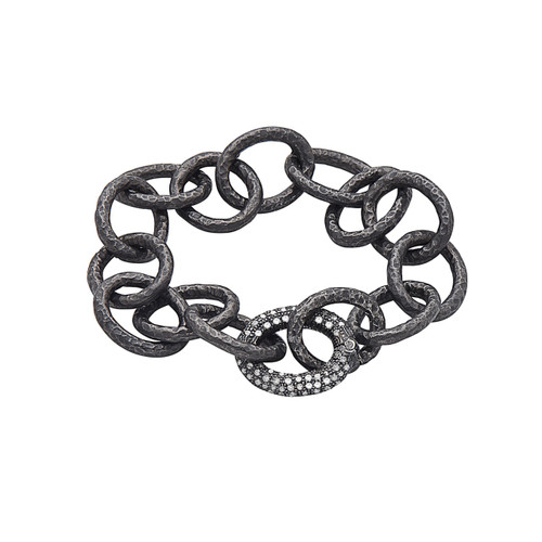Hammered Oval Link Bracelet with Diamond Clasp