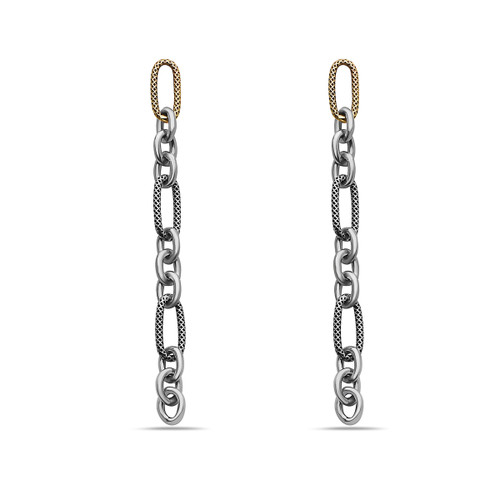 Mixed Metal-10K and Sterling Silver Chain Earrings