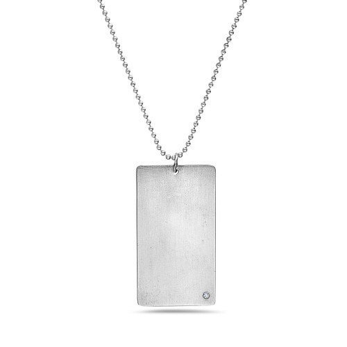 Dog Tag Necklace with Diamond