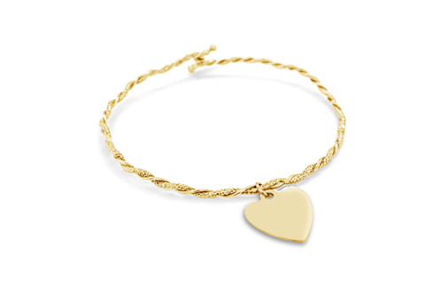 Twisted Glitter Wire Heart Bangle