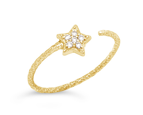 Open Star Ring with White Diamonds