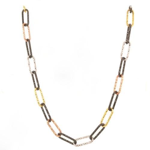 """Multicolored Chain Necklace, 36"""""""