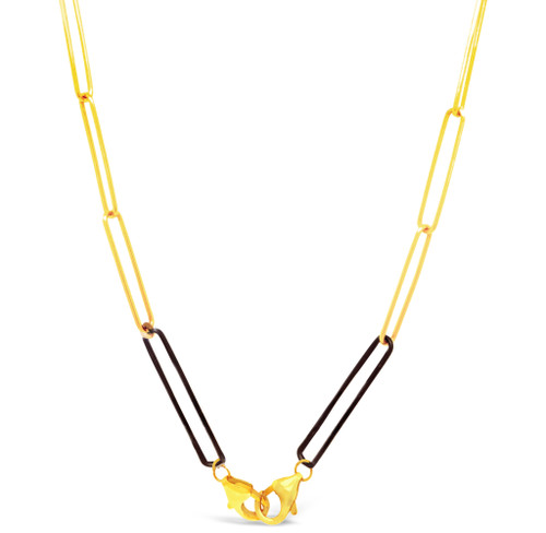 Mask Chain with Double Clasps, 14K Gold Filled and Blackened Sterling Silver