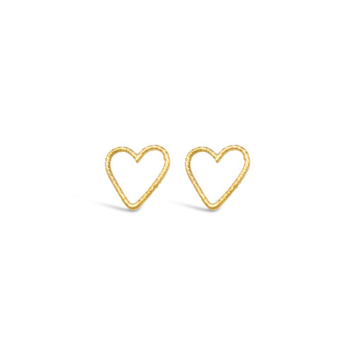 Heart Stud Earrings, Hammered