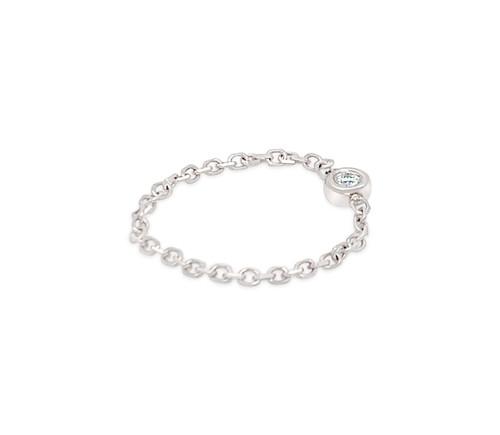 Diamond Bezel Shiny Chain Ring