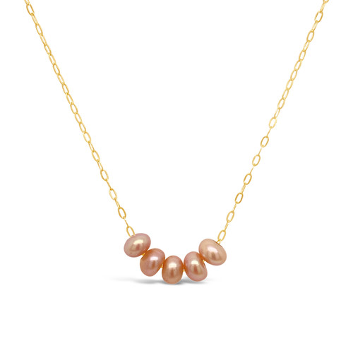 Pink Pearl Necklace (5 pearls), 14K Gold Filled