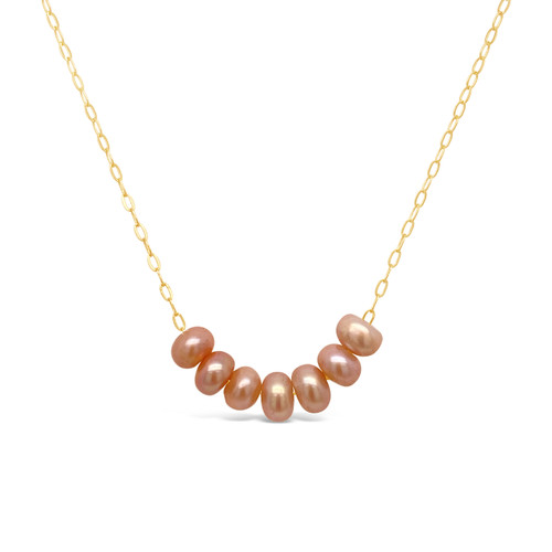 Pink Pearl Necklace (7 pearls), 14K Gold Filled