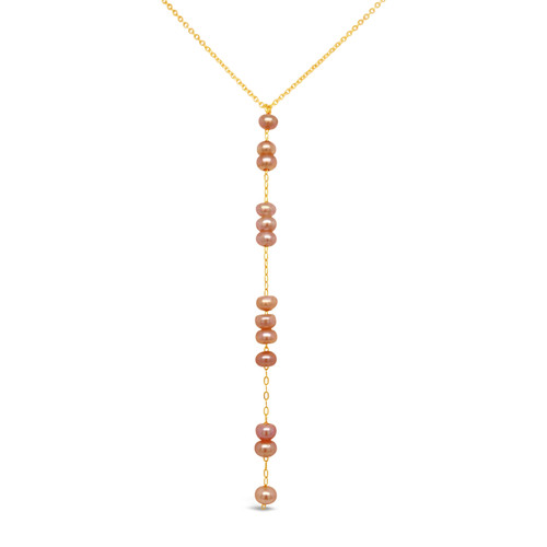 Pink Pearl Y Necklace, 14K Gold Filled