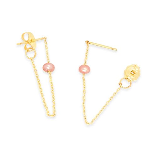 Pink Pearl Chain Earrings