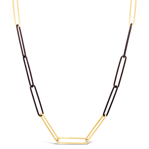 Black and Yellow Elongated Paperclip Chain
