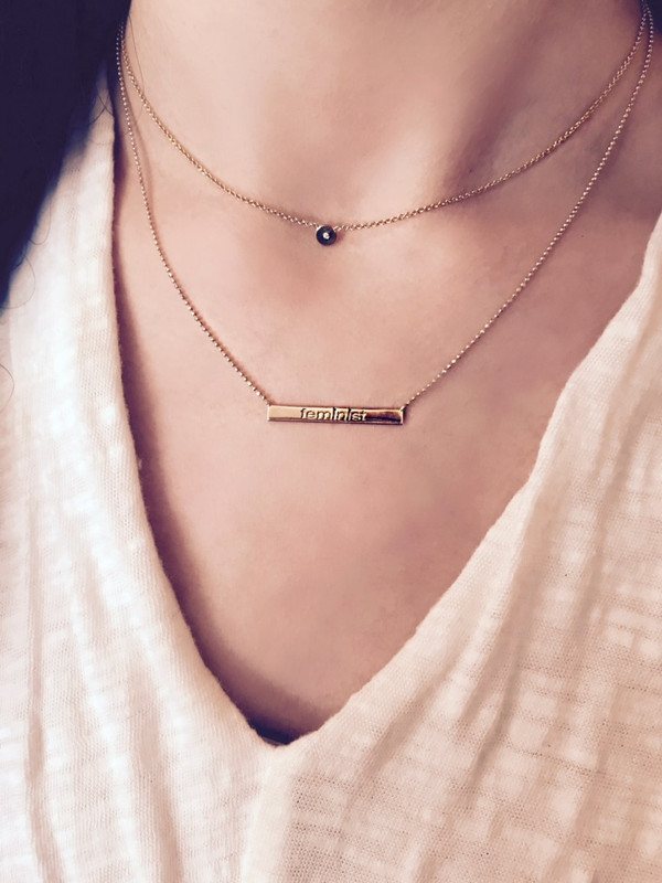 Feminist Necklace with Burnished Diamond