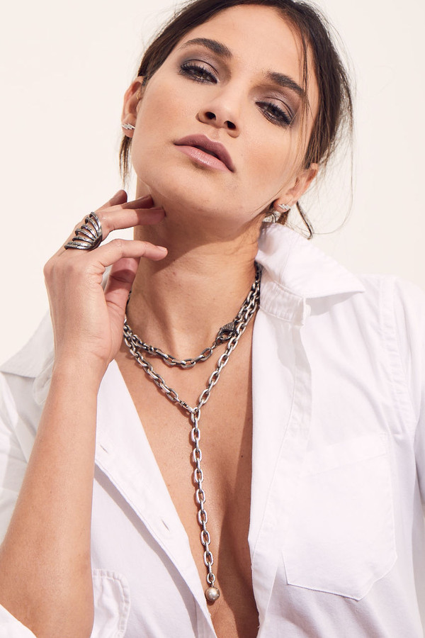 """Rock & Roll 24"""" Necklace with Diamond Marble"""