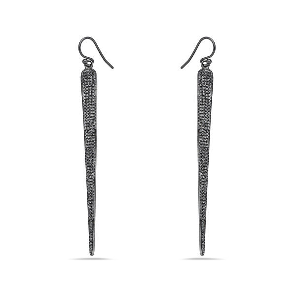 Pave Black Diamond Spike Earrings
