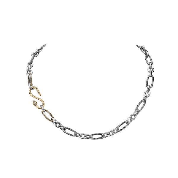 Mixed Metal-10K and Sterling Silver Chain Necklace, with Diamond Snake Clasp