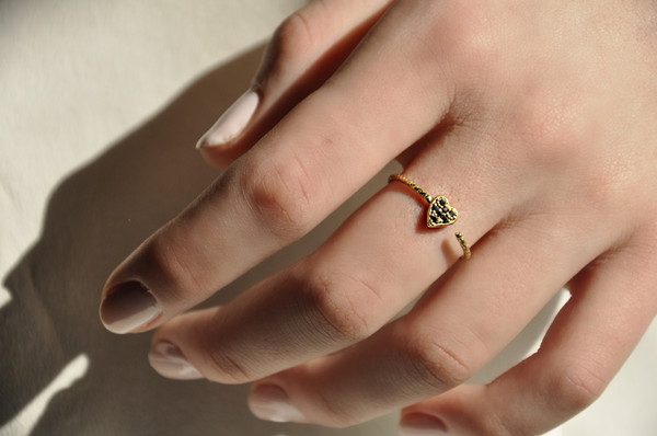 Open Heart Ring with Black Diamonds