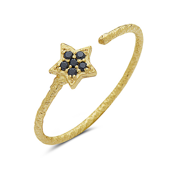 Open Star Ring with Black Diamonds