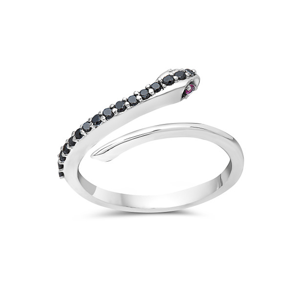 Boa Ring with Black Diamonds and Ruby Eyes