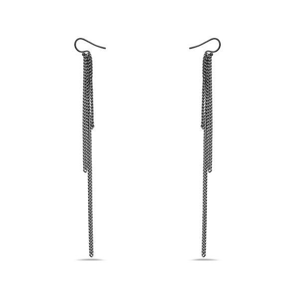 3 Oxidized Chain Earrings, on French Hook