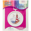 "998-5034 Lighthouse Mini Counted Cross Stitch Kit-2.5"" Round 18 Count"