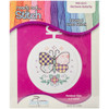 """998-5032 Patchwork Butterfly Mini Counted Cross Stitch Kit-2.5"""" Round 18 Count"""