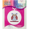 """998-5038 Owl Mini Counted Cross Stitch Kit-2.5"""" Round 18 Count"""